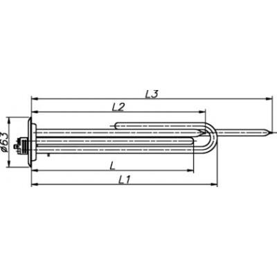 ТЭН медный для бойлера Thermex 2000 Вт 230 В на фланце 63 мм