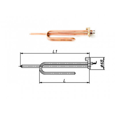 ТЭН для бойлера 1200-3000 Вт 220 В на фланце 48 мм с выпуском